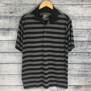 Nike Golf Dri-Fit Black Striped Large Polo